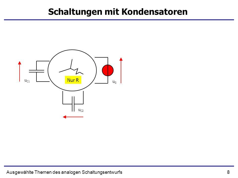 9Ausgewählte Themen des analogen Schaltungsentwurfs Schaltungen mit Kondensatoren u C1 u C2 uGuG + + C2C2 C2C2 uGuG + u G = u C2 + u C2 Abhängige Kondensatoren Unabhängige Kondensatoren