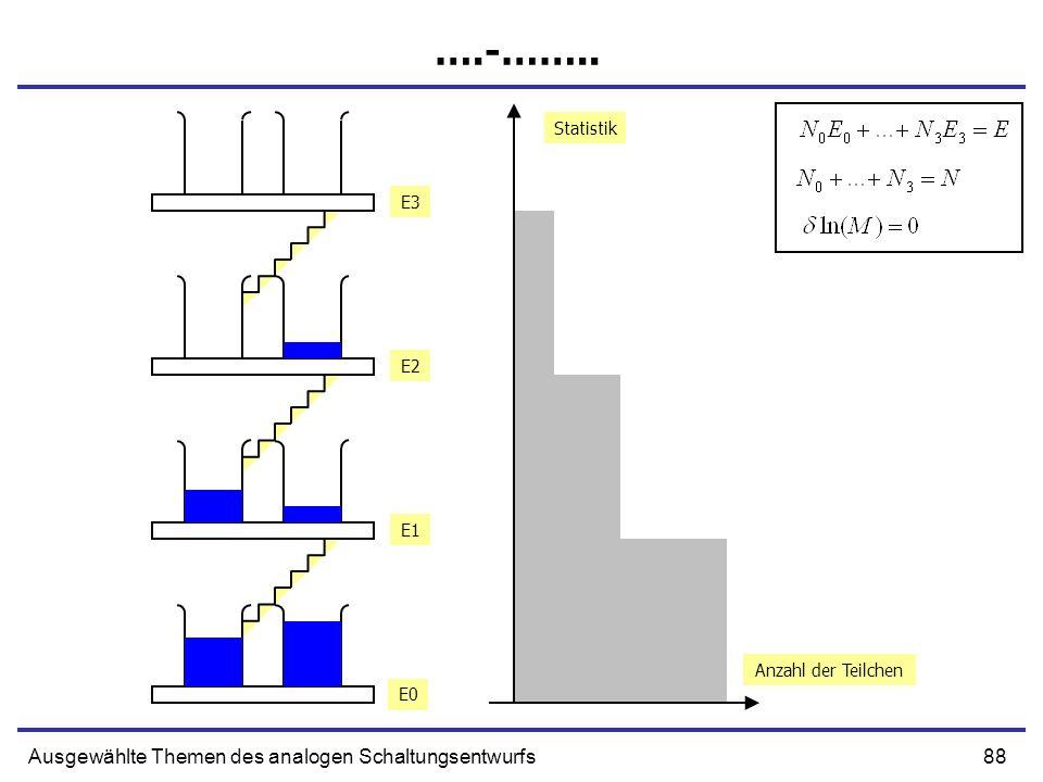 88Ausgewählte Themen des analogen Schaltungsentwurfs ….-…….. Anzahl der Teilchen Statistik E0 E1 E2 E3