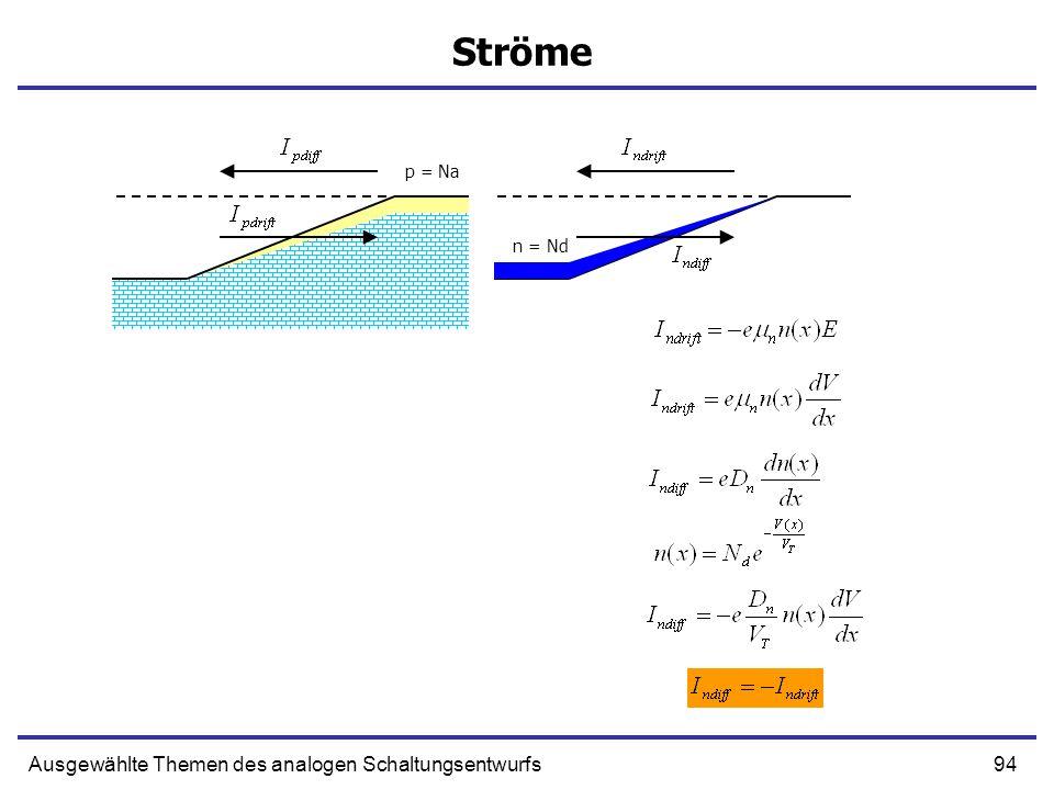 94Ausgewählte Themen des analogen Schaltungsentwurfs Ströme p = Na n = Nd