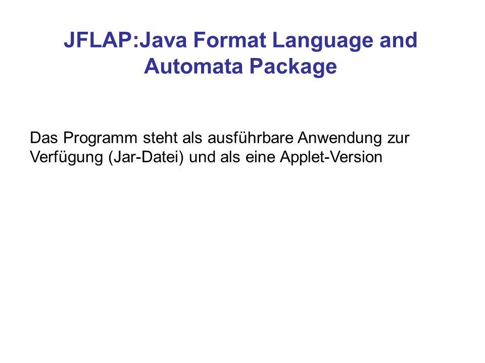 JFLAP:Java Format Language and Automata Package Das Programm steht als ausführbare Anwendung zur Verfügung (Jar-Datei) und als eine Applet-Version