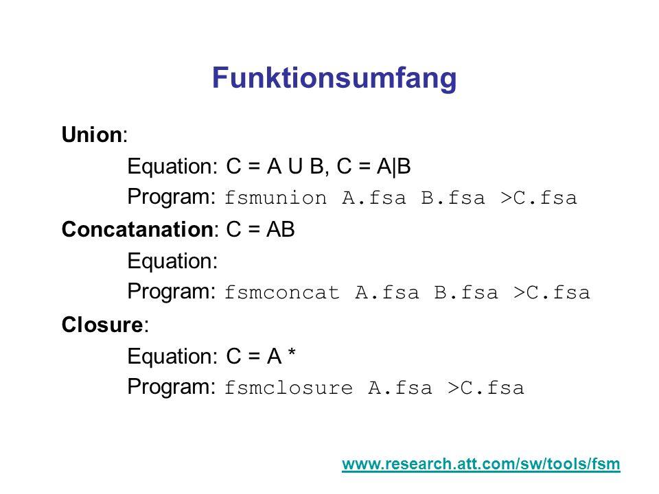 Funktionsumfang Union: Equation: C = A U B, C = A|B Program: fsmunion A.fsa B.fsa >C.fsa Concatanation: C = AB Equation: Program: fsmconcat A.fsa B.fs