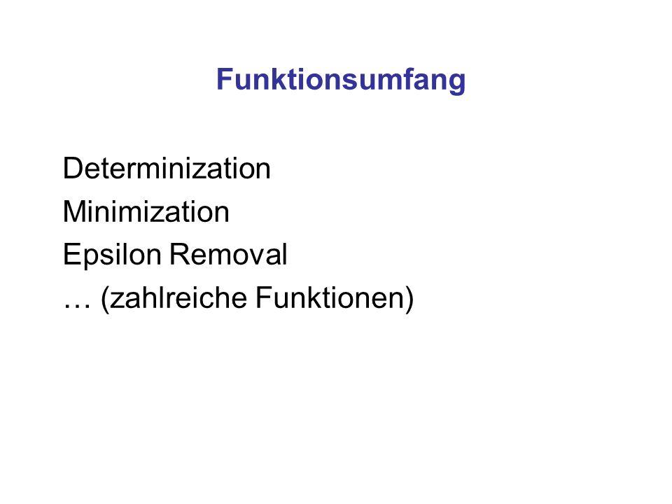 Funktionsumfang Determinization Minimization Epsilon Removal … (zahlreiche Funktionen)