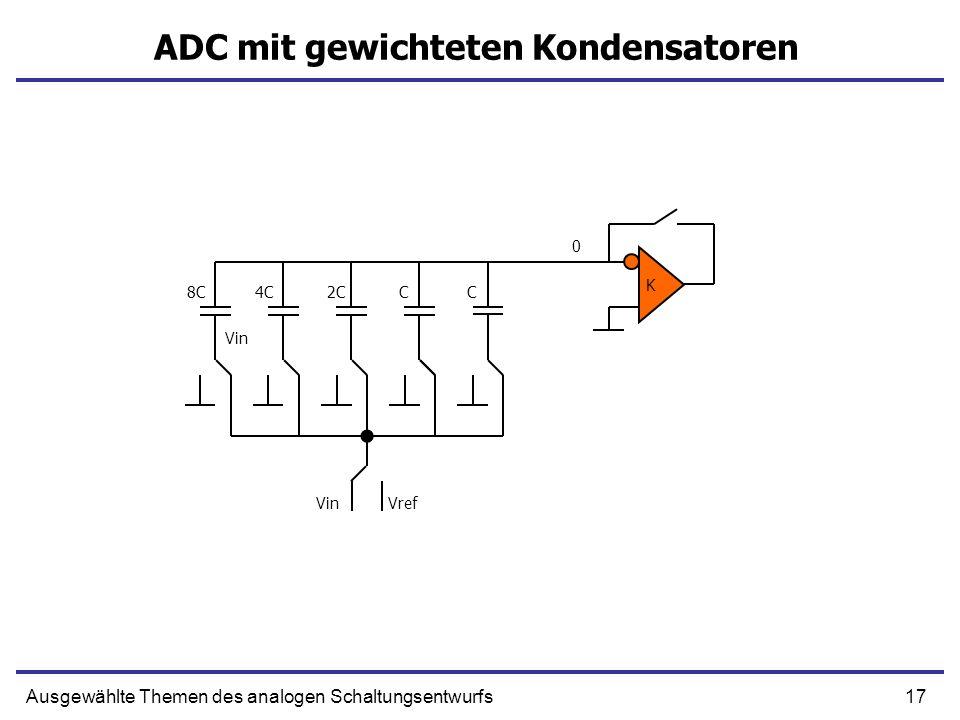 18Ausgewählte Themen des analogen Schaltungsentwurfs ADC mit gewichteten Kondensatoren K CC2C4C8C VinVref -Vin 0 1