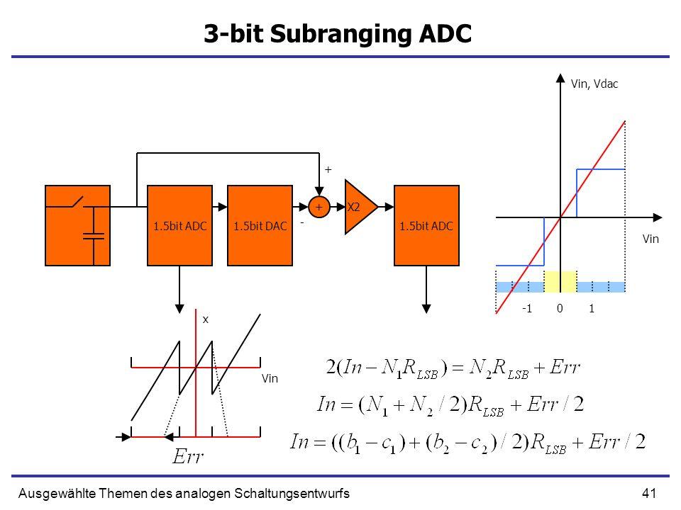 42Ausgewählte Themen des analogen Schaltungsentwurfs 3-bit Subranging ADC 1.5bit ADC1.5bit DAC1.5bit ADC 01 X2 - + Vin x Vin, Vdac +