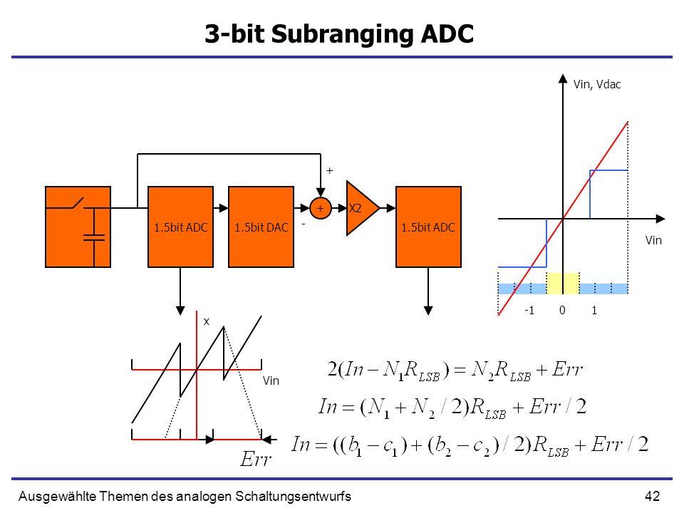 43Ausgewählte Themen des analogen Schaltungsentwurfs Algorithmischer ADC 1.5bit ADC1.5bit DAC X2 - + x Vin 01 Vin, Vdac +
