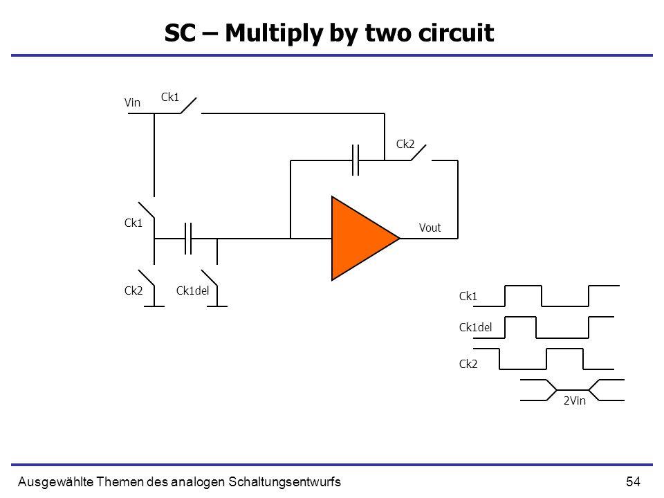55Ausgewählte Themen des analogen Schaltungsentwurfs SC – Multiply by two circuit Q Q 0V Vin