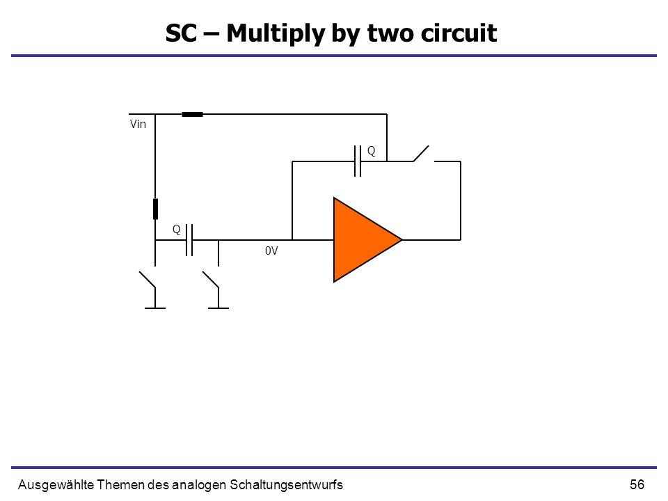 57Ausgewählte Themen des analogen Schaltungsentwurfs SC – Multiply by two circuit 2Q 0V Vin 0V 2Vin
