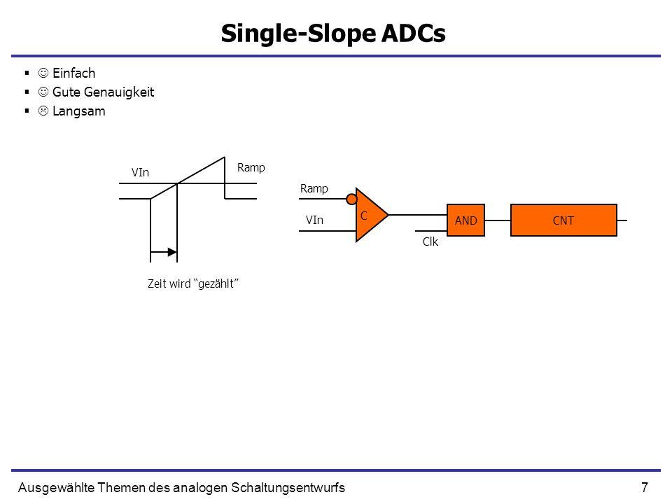 8Ausgewählte Themen des analogen Schaltungsentwurfs Integrating single-slope ADCs A C -Vin Thr AND Clk CNT R C T v Zeit wird gezählt Thr Vout