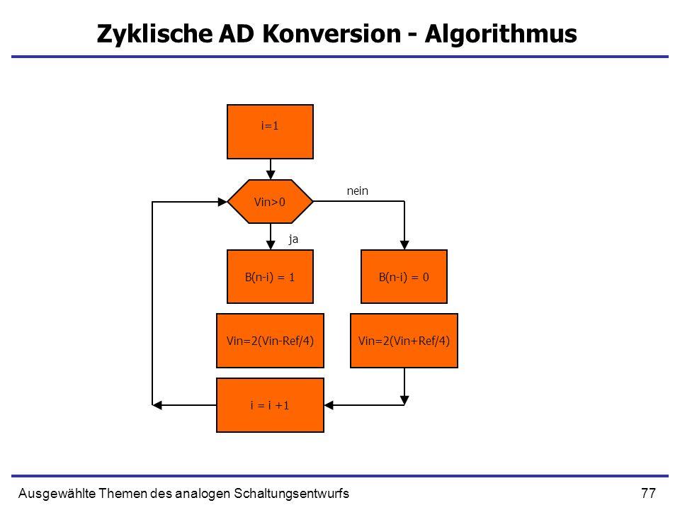 78Ausgewählte Themen des analogen Schaltungsentwurfs Algorithmischer ADC 1bit ADC1bit DAC 0 1 X2 - + x Vin Vin, Vdac +