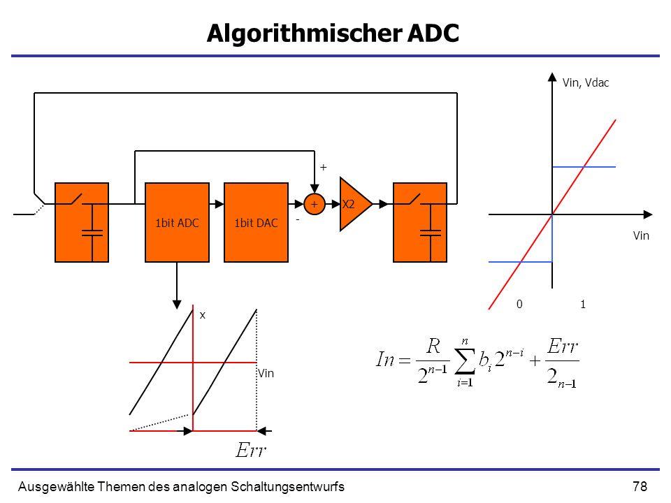 79Ausgewählte Themen des analogen Schaltungsentwurfs Algorithmischer ADC 1bit ADC1bit DAC 0 1 X2 - + x Vin Vin, Vdac +