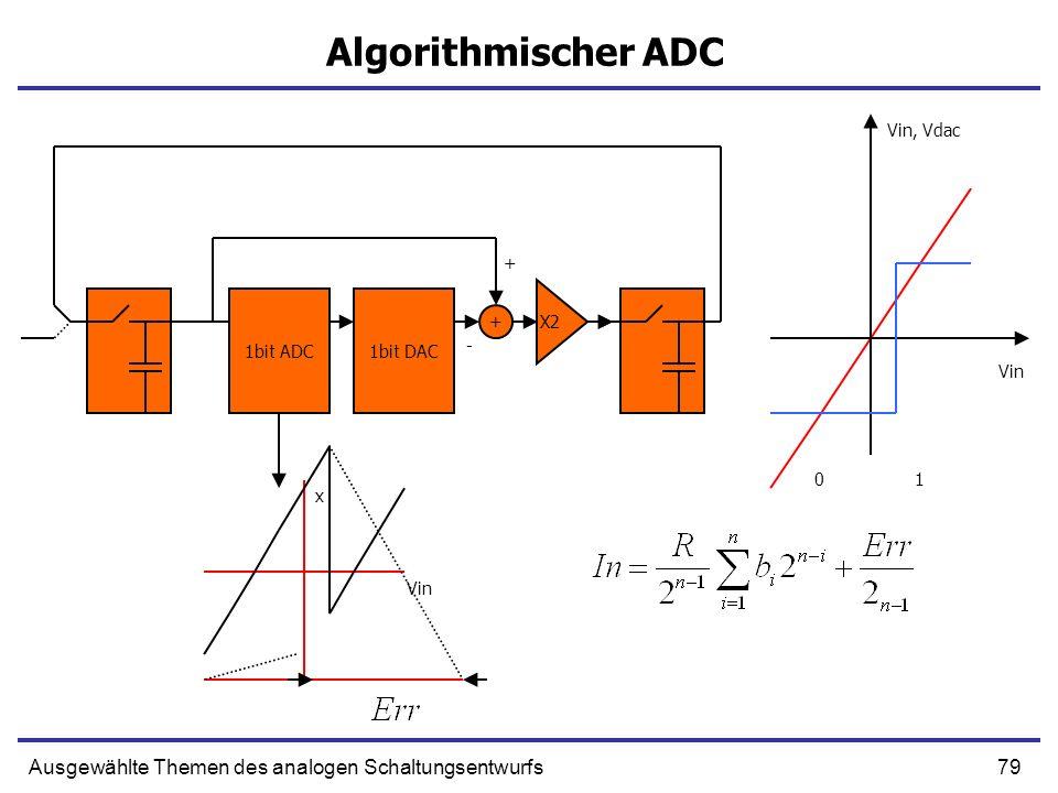 80Ausgewählte Themen des analogen Schaltungsentwurfs - ADC 1bit ADC1bit DAC 0 1 - + Vin x In Vin, Vdac ++