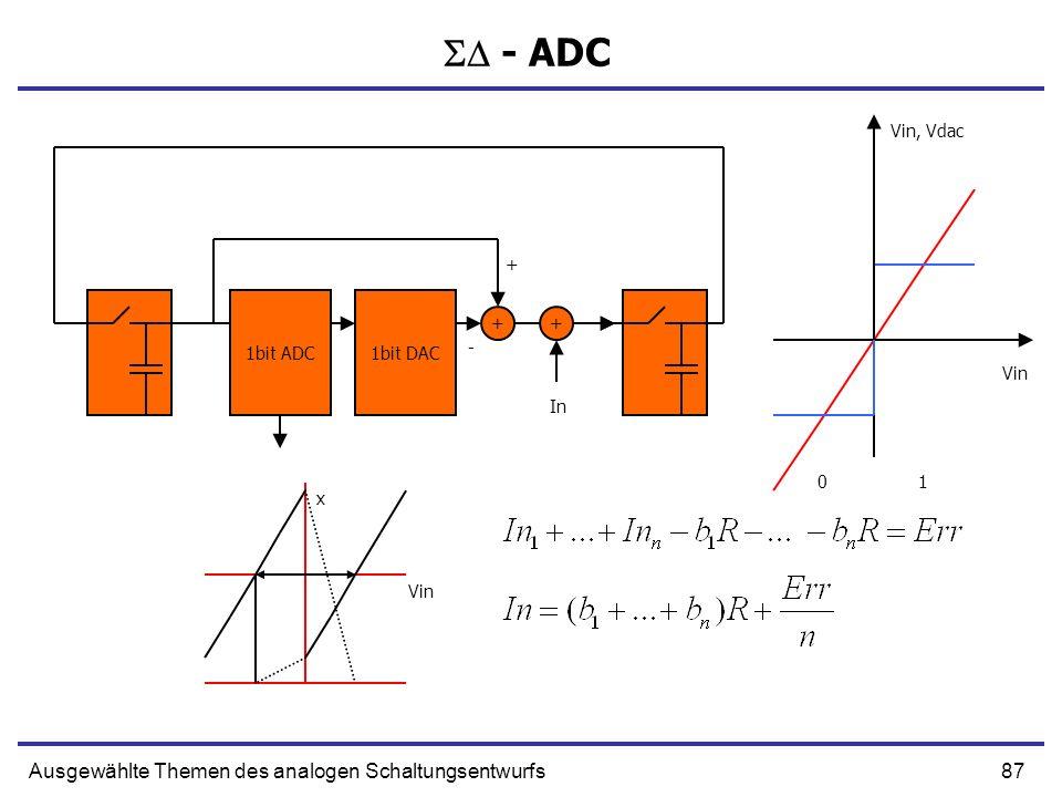 88Ausgewählte Themen des analogen Schaltungsentwurfs - ADC 1bit ADC1bit DAC ++