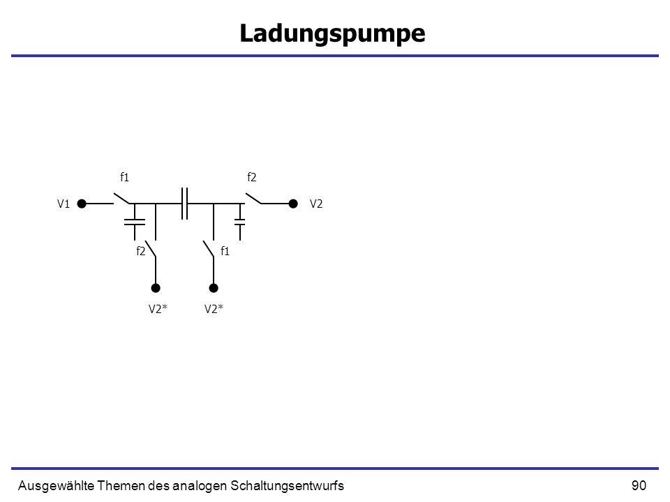 91Ausgewählte Themen des analogen Schaltungsentwurfs Ladungspumpe f1f2 f1 V1V2 V2* f1f2 f1 V1V2 V2* Q=(V1-V2)C 1/R=-C