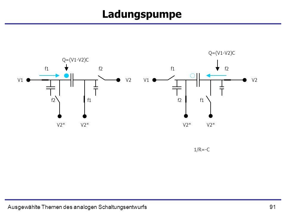 92Ausgewählte Themen des analogen Schaltungsentwurfs Ladungspumpe V1V2 V2* 1/R=-C V1V2 V2*