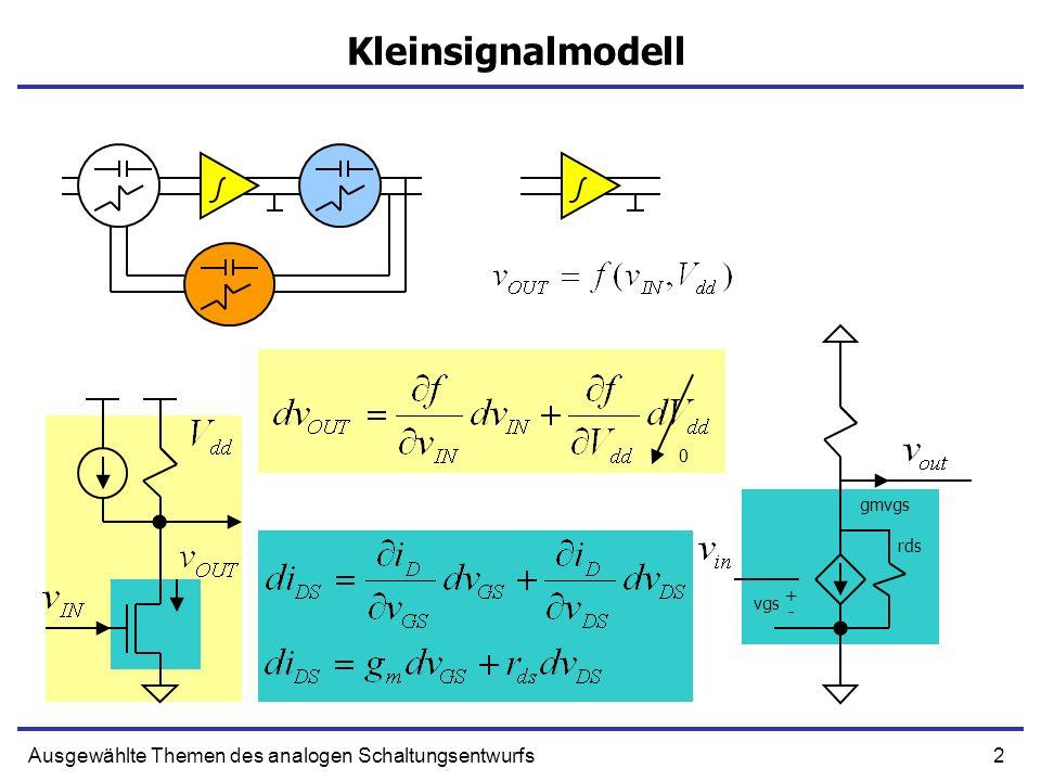 3Ausgewählte Themen des analogen Schaltungsentwurfs Superposition Lineares Netzwerk I GES Lineares NetzwerkLineares Netwerk I1I1 I2I2 G1 G2 I GES = I 1 + I 2