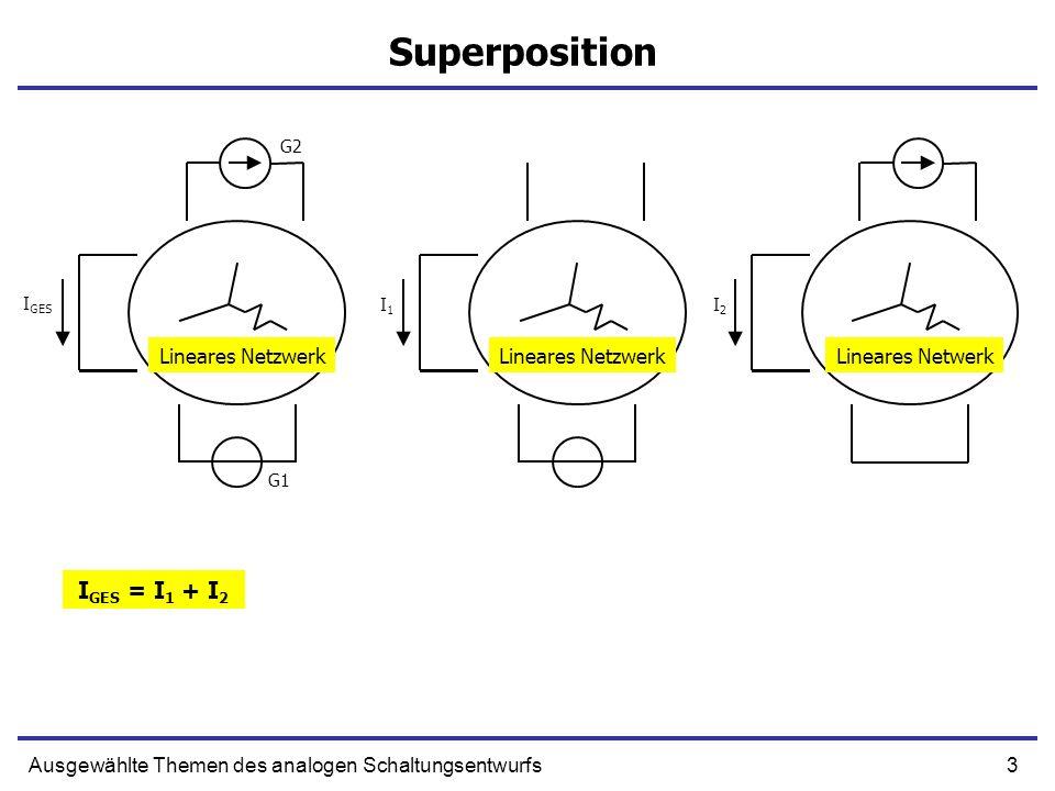 44Ausgewählte Themen des analogen Schaltungsentwurfs Nichtinvertierender Verstärker (Ausgangswiderstand) Schleifenverstärkung beim kurzgeschlossenen Ausgang + - OUT R1R1 R2R2 Xs+ Xo + XiXi* + - AXi* + Xi* R OUT
