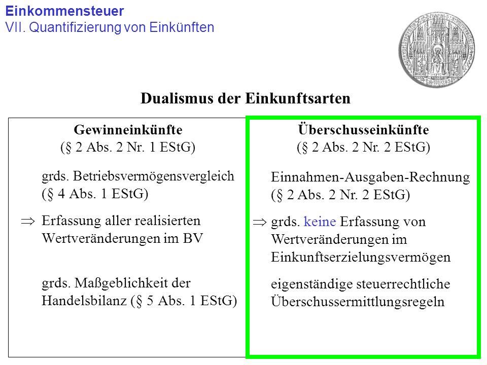 Gewinneinkünfte (§ 2 Abs. 2 Nr. 1 EStG) grds. Betriebsvermögensvergleich (§ 4 Abs. 1 EStG) Erfassung aller realisierten Wertveränderungen im BV grds.