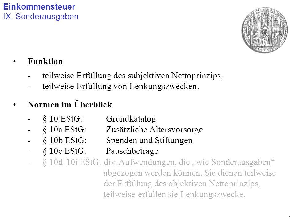 Einkommensteuer IX. Sonderausgaben. Funktion -teilweise Erfüllung des subjektiven Nettoprinzips, -teilweise Erfüllung von Lenkungszwecken. Normen im Ü
