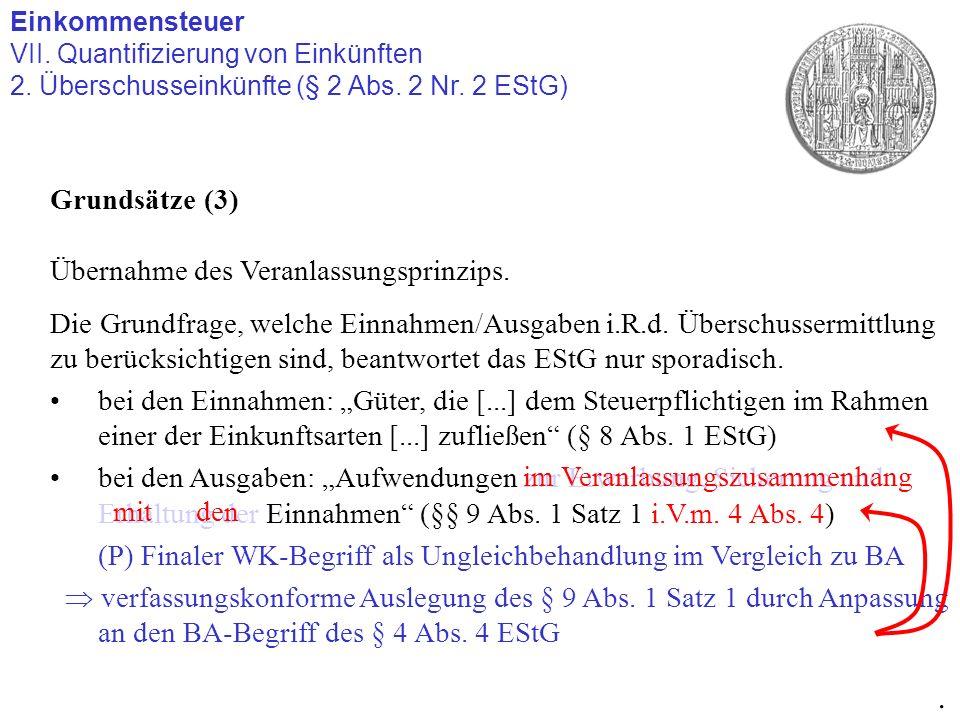 Einkommensteuer VII. Quantifizierung von Einkünften 2. Überschusseinkünfte (§ 2 Abs. 2 Nr. 2 EStG). Grundsätze (3) Übernahme des Veranlassungsprinzips