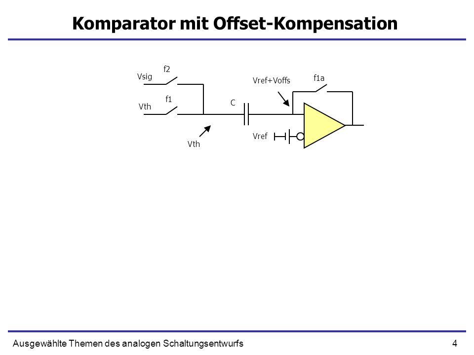 5Ausgewählte Themen des analogen Schaltungsentwurfs Komparator mit Offset-Kompensation Vref Vsig Vth f1a f1 f2=1 C Vref+Voffs+(Vsig-Vth) Vsig