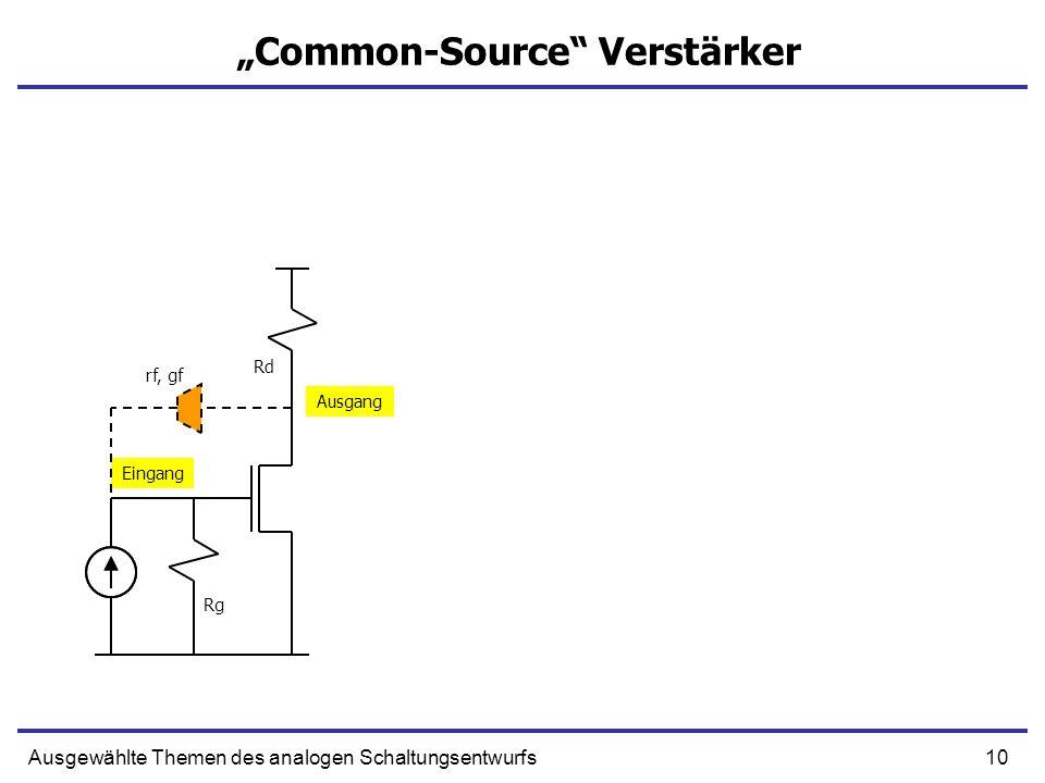 10Ausgewählte Themen des analogen Schaltungsentwurfs Common-Source Verstärker Eingang Ausgang Rg Rd rf, gf