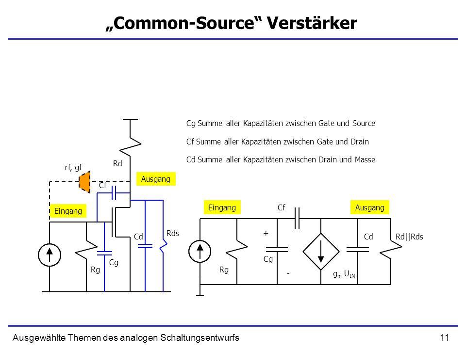 11Ausgewählte Themen des analogen Schaltungsentwurfs Common-Source Verstärker + g m U IN Cg Summe aller Kapazitäten zwischen Gate und Source Cf CdRd||