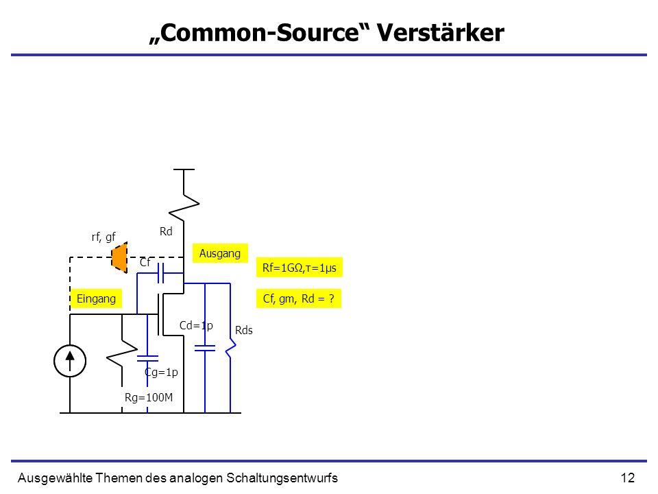 12Ausgewählte Themen des analogen Schaltungsentwurfs Common-Source Verstärker Eingang Ausgang Rd Cg=1p Cf Cd=1p Rds Rf=1GΩ,τ=1μs Cf, gm, Rd = ? rf, gf
