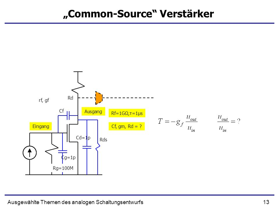 13Ausgewählte Themen des analogen Schaltungsentwurfs Common-Source Verstärker Eingang Ausgang Rd Cg=1p Cf Cd=1p Rds Rf=1GΩ,τ=1μs Cf, gm, Rd = ? rf, gf