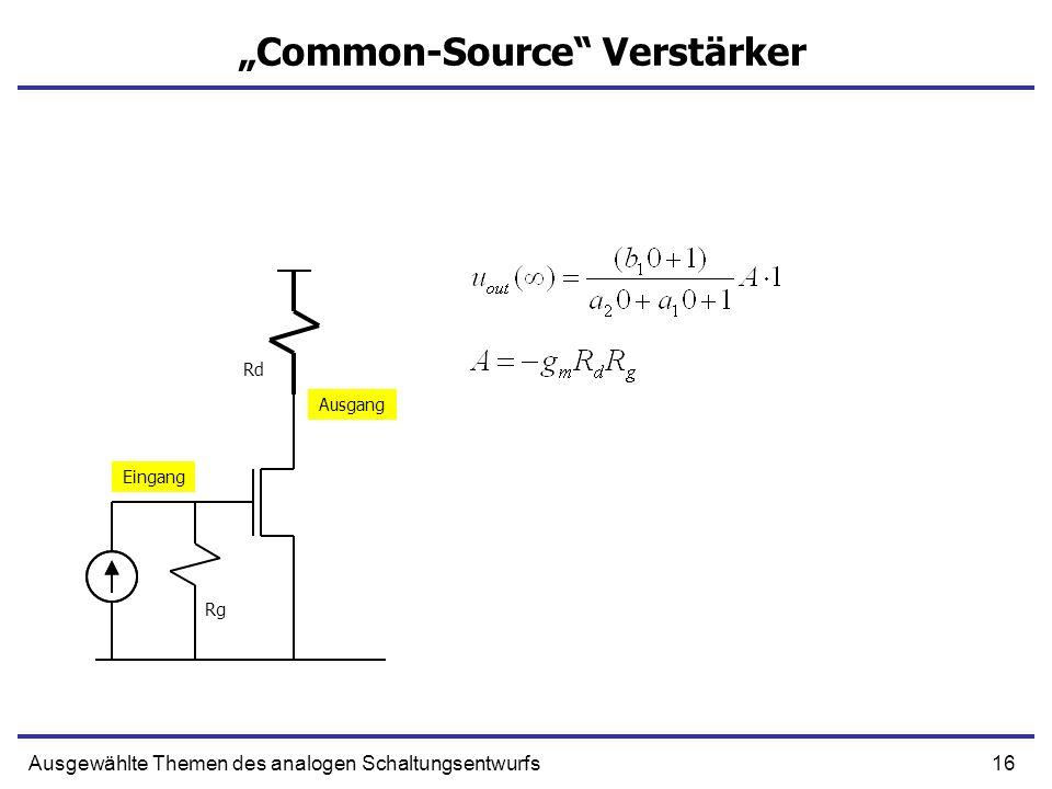 16Ausgewählte Themen des analogen Schaltungsentwurfs Common-Source Verstärker Eingang Ausgang Rg Rd
