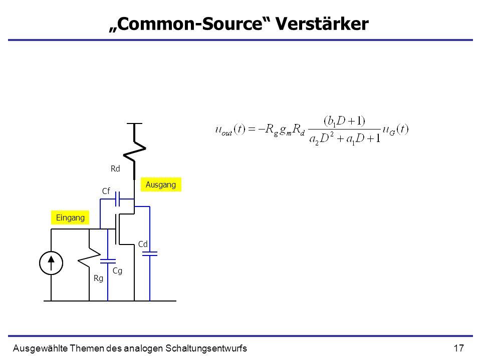 17Ausgewählte Themen des analogen Schaltungsentwurfs Common-Source Verstärker Eingang Ausgang Rg Rd Cg Cf Cd