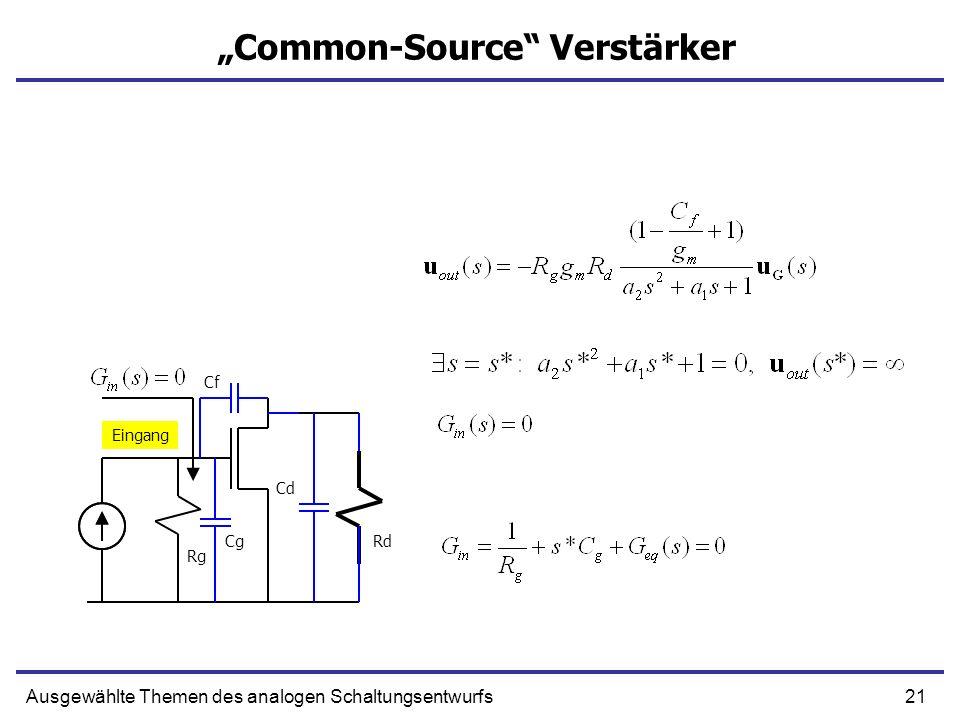 21Ausgewählte Themen des analogen Schaltungsentwurfs Common-Source Verstärker Eingang Rg RdCg Cf Cd