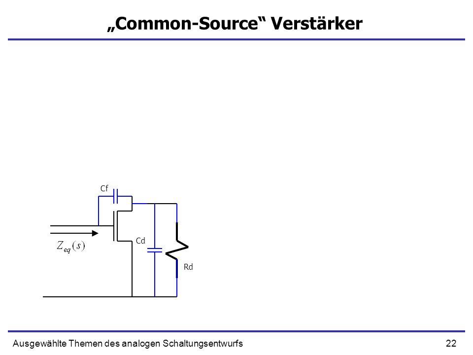 22Ausgewählte Themen des analogen Schaltungsentwurfs Common-Source Verstärker Rd Cf Cd
