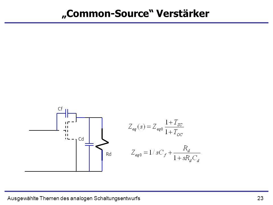 23Ausgewählte Themen des analogen Schaltungsentwurfs Common-Source Verstärker Rd Cf Cd