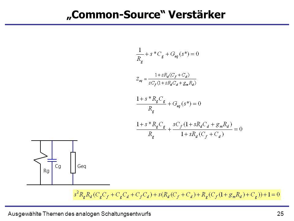 25Ausgewählte Themen des analogen Schaltungsentwurfs Common-Source Verstärker Cg Rg Geq