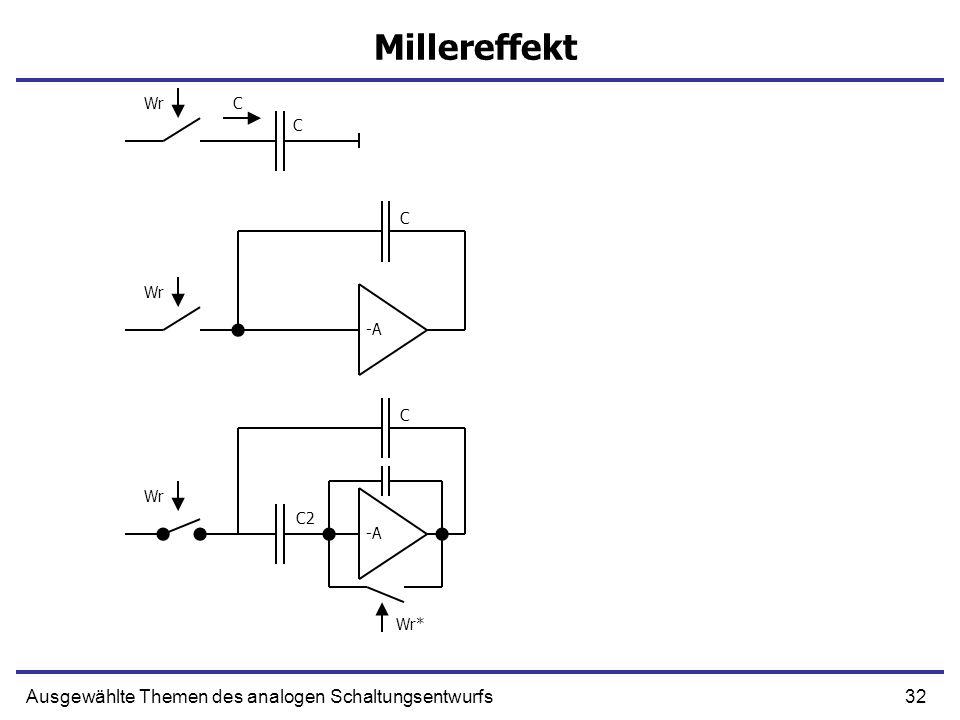 32Ausgewählte Themen des analogen Schaltungsentwurfs Millereffekt -A C C C CWr Wr* C2