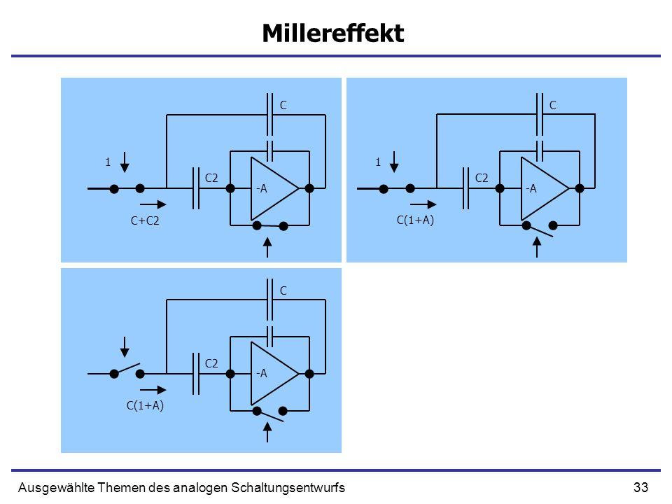 33Ausgewählte Themen des analogen Schaltungsentwurfs Millereffekt -A C 1 C2 C(1+A) -A C 1 C2 C+C2 -A C C2 C(1+A)