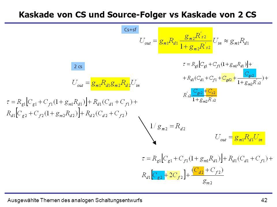 42Ausgewählte Themen des analogen Schaltungsentwurfs Kaskade von CS und Source-Folger vs Kaskade von 2 CS 2 cs Cs+sf