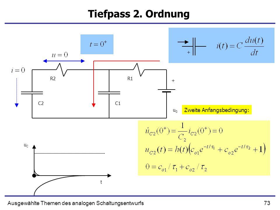 73Ausgewählte Themen des analogen Schaltungsentwurfs Tiefpass 2. Ordnung C1 R1 C2 R2 uCuC t + + uGuG Zweite Anfangsbedingung: