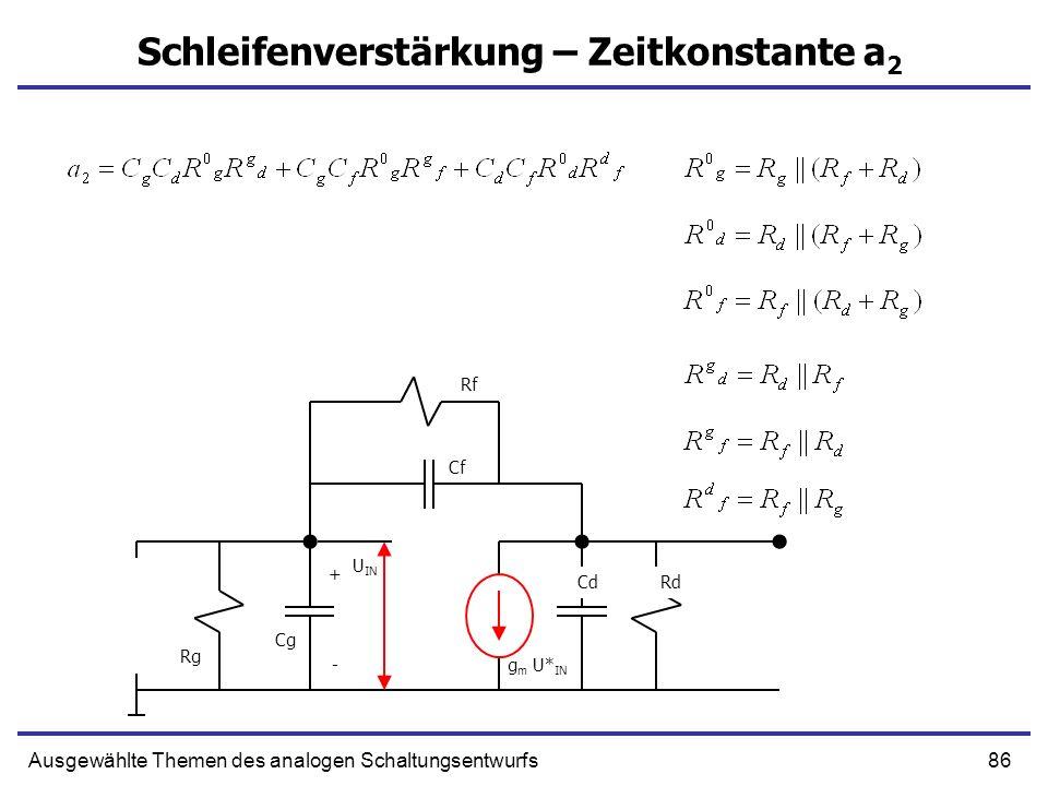 86Ausgewählte Themen des analogen Schaltungsentwurfs Schleifenverstärkung – Zeitkonstante a 2 + g m U* IN Cf CdRd Rg - Cg U IN Rf