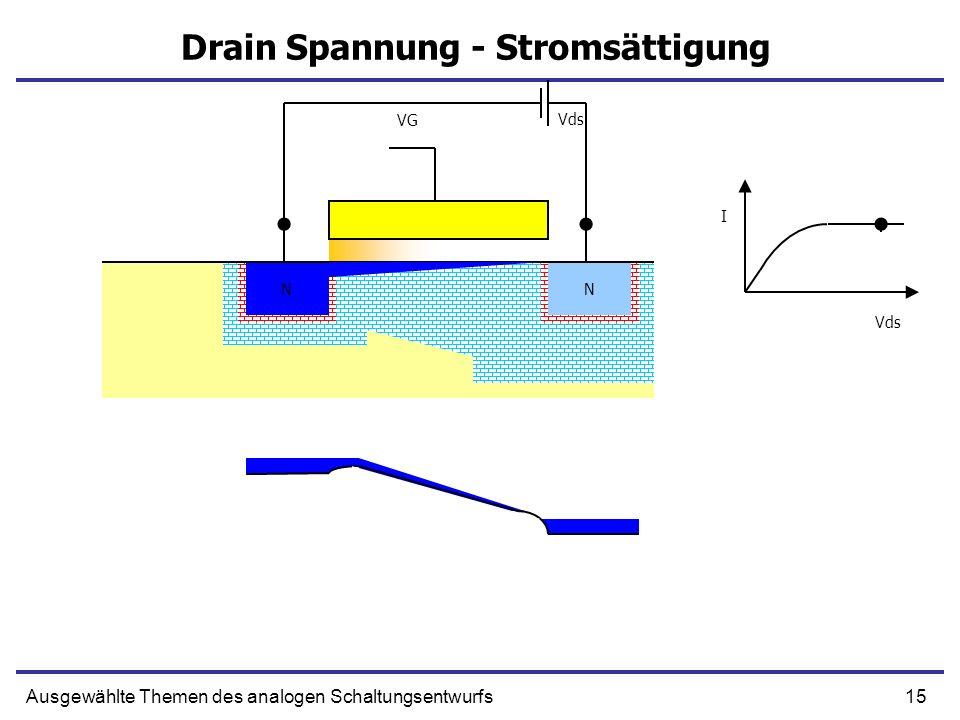 15Ausgewählte Themen des analogen Schaltungsentwurfs Drain Spannung - Stromsättigung NN N N VG Vds I