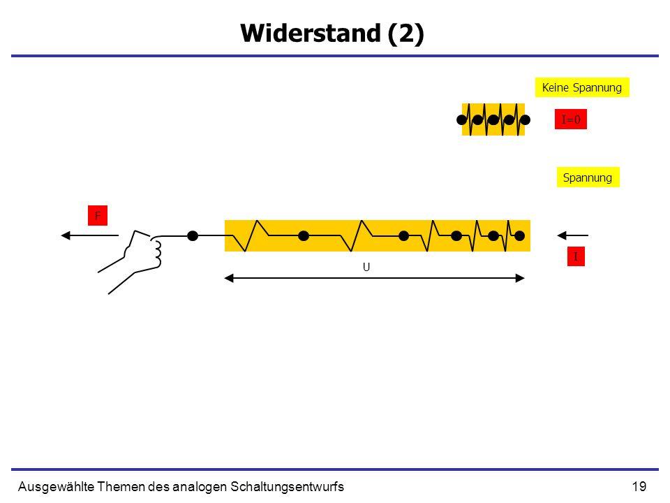 19Ausgewählte Themen des analogen Schaltungsentwurfs Widerstand (2) Spannung Keine Spannung U F I I=0