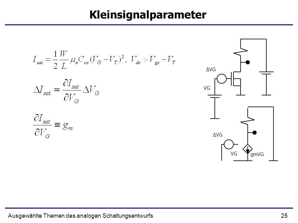 25Ausgewählte Themen des analogen Schaltungsentwurfs Kleinsignalparameter VG ΔVG gmVG VG