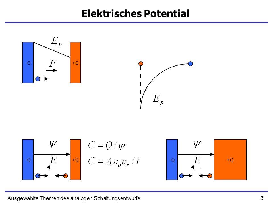 3Ausgewählte Themen des analogen Schaltungsentwurfs Elektrisches Potential -Q+Q-Q+Q -Q+Q