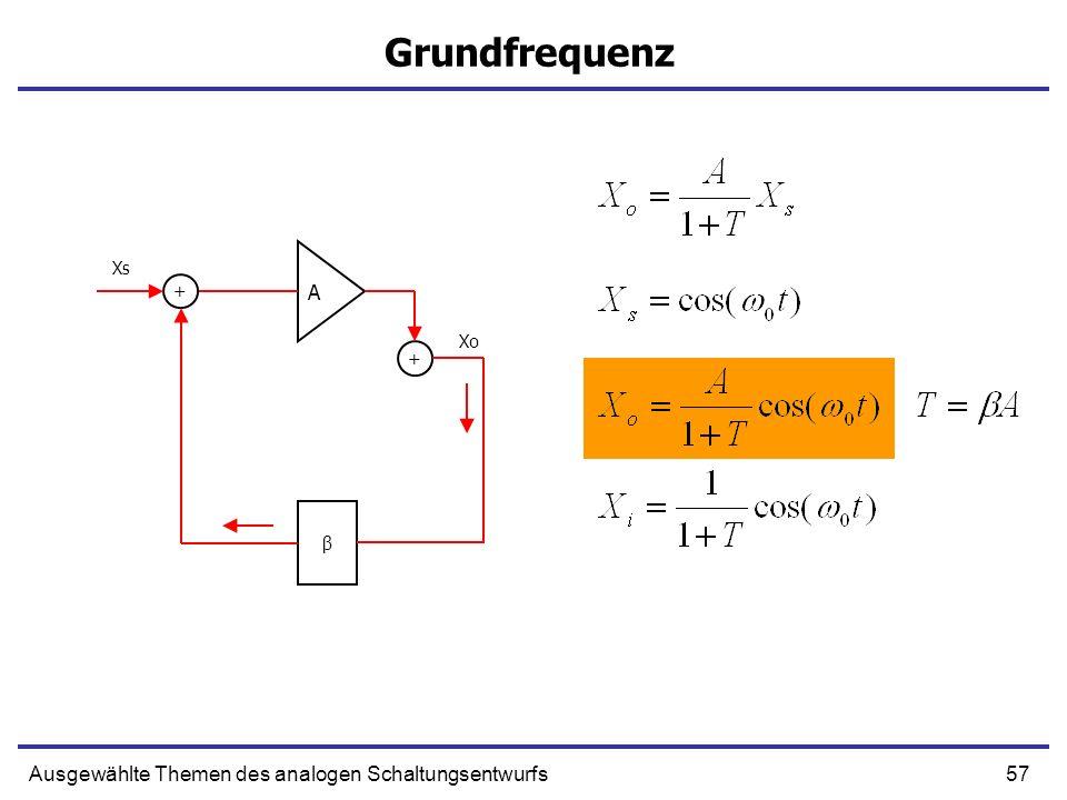 57Ausgewählte Themen des analogen Schaltungsentwurfs Grundfrequenz A + β + Xs Xo