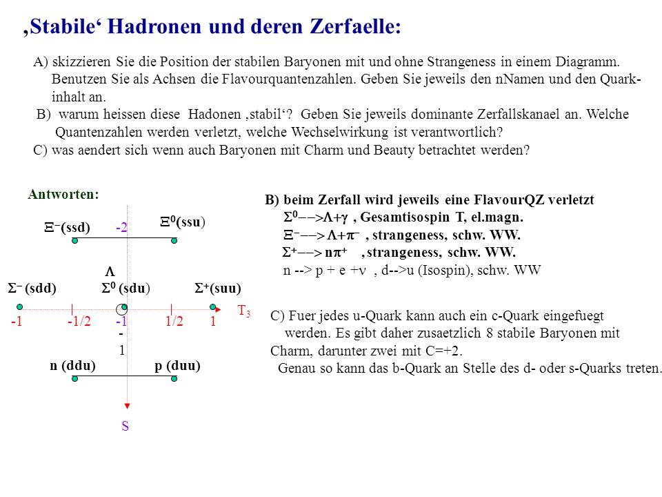 Stabile Hadronen und deren Zerfaelle: A) skizzieren Sie die Position der stabilen Baryonen mit und ohne Strangeness in einem Diagramm.
