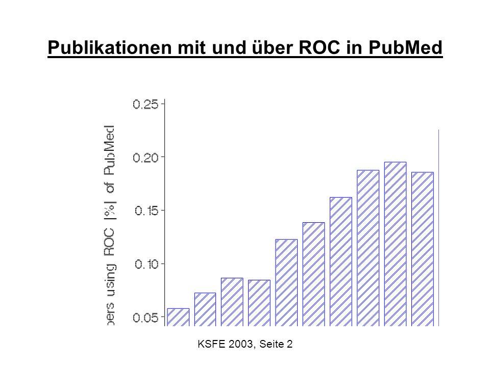 KSFE 2003, Seite 3 Einführung: Diagnostik Testsituation: Überprüfung einer (binären) Größe mit einer anderen (mind.