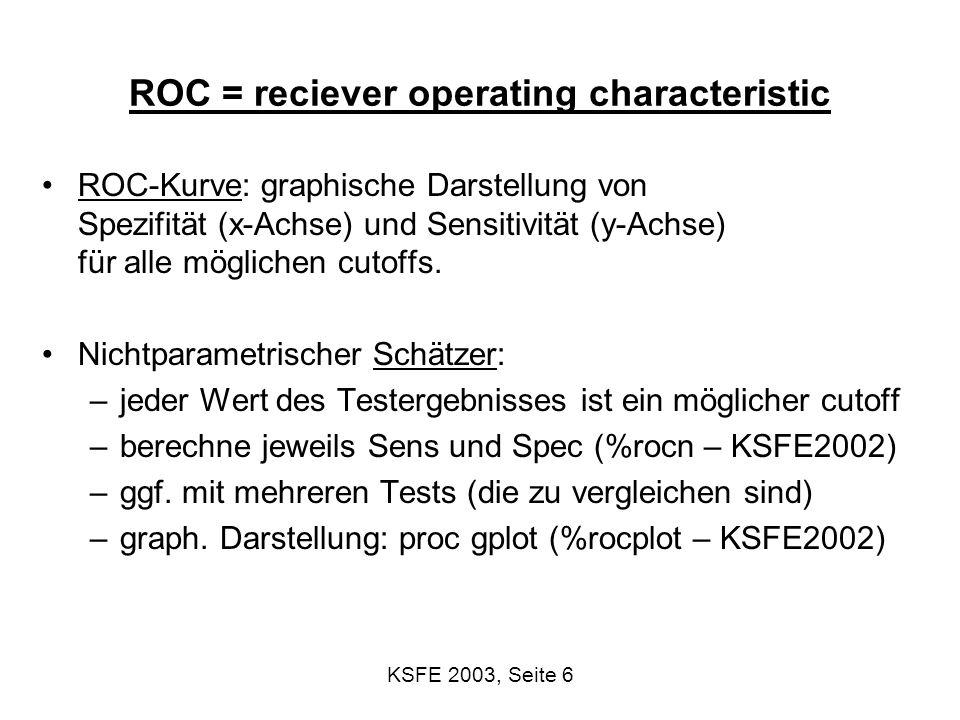 KSFE 2003, Seite 27 Vielen Dank Diese Präsentation steht unter den technical reports im Netz: http://www.biometrie.uni-heidelberg.de Die SAS-Programme sind erhältlich bei sas@imbi.uni-heidelberg.de