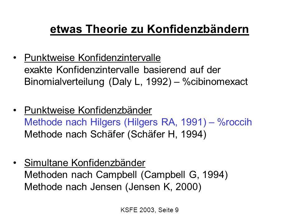 KSFE 2003, Seite 10 Two-stage confidence bounds Betrachte einen beliebigen cutoff; Se, Sp schon geschätzt 1.Berechne KI [X p, X p ] für x p = cutoff der Spezifität p liefert: Verwendung der K- Daten (nur der Gesunden) mittels empirischer Quantilfunktion 2.Finde die Sensitivitäten für die obigen cutoffs: Sens(X p ), Sens(X p ): Verwendung der K+ Daten (nur die Kranken) verwende diese für die Berechnung des KIs für die ROC: z.B.