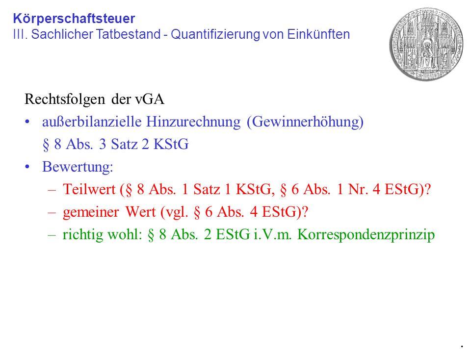 Rechtsfolgen der vGA außerbilanzielle Hinzurechnung (Gewinnerhöhung) § 8 Abs. 3 Satz 2 KStG Bewertung: –Teilwert (§ 8 Abs. 1 Satz 1 KStG, § 6 Abs. 1 N