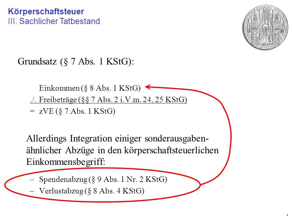 Grundsatz (§ 7 Abs. 1 KStG): Einkommen (§ 8 Abs. 1 KStG)./.Freibeträge (§§ 7 Abs. 2 i.V.m. 24, 25 KStG) =zVE (§ 7 Abs. 1 KStG) Allerdings Integration